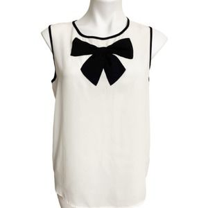 White and Black Bow Blouse Size M